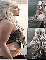 High Quality Cosplay Long Curly Synthetic Wig Gray Color Hot Sale.