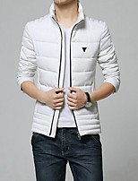 Men's Regular Parka Coat , Cotton Pure Long Sleeve