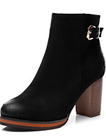 Women's Shoes Synthetic Chunky Heel Cowboy / Western Boots / Motorcycle Boots Party &  / Dress / Casual Black / Red