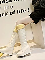 Women's Shoes Wedge Heel Round Toe / Closed Toe Boots Office & Career / Dress / Casual Black / White