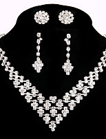 2 Pairs of Rhinestone Earrings with Wedding Necklace Jewelry Sets Party Rhinestone Ring Bracelet Gift