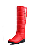 Women's Shoes Leatherette Wedge / Snow Boots / Round Toe Boots Outdoor / Office & Career / Casual Black / Red