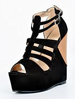 Women's Shoes Fleece Wedge Heel Wedges / Open Toe Sandals Party & Evening / Dress / Casual Black