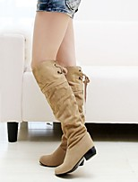 Women's Shoes Leatherette Low Heel Round Toe Boots Outdoor / Office & Career / Casual Black / Brown