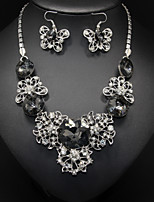 Women's Alloy Hollowe Butterfly Rhinetone Earrings&Necklace Jewelry Set