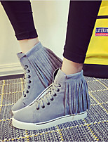 Women's Shoes Leatherette Flat Heel Round Toe Boots Casual Black / Gray