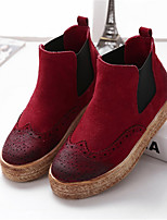 Women's Shoes Suede Platform Round Toe Boots Casual Black / Brown / Red