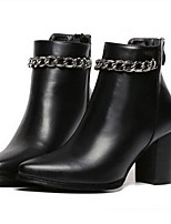 Women's Shoes Leatherette Chunky Heel Fashion Boots Boots Wedding / Office & Career / Casual Black
