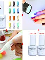 neue Nail-Art-Set (5 Stück) / 1pcs optional Farbe Metall UVgelpoliermittel + Basis&Spitzenmantel + uv flashligh + Nagellackentferner