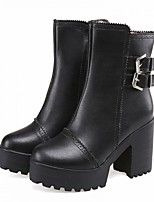 Women's Shoes Leatherette Chunky Heel Platform / Fashion Boots Boots Dress / Casual Black / White / Beige