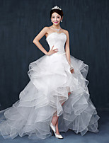 A-line Wedding Dress - White Asymmetrical Sweetheart Lace / Tulle