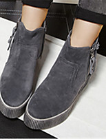 Women's Shoes  Flat Heel Round Toe Boots Casual Black / Gray