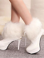 Women's Shoes Stiletto Heel Pointed Toe Boots Casual Black / White / Beige