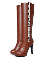 Women's Shoes Leatherette Stiletto Heel Fashion Boots / Pointed Toe Boots Casual Black / Brown