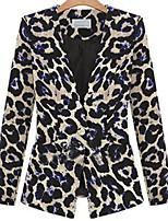 Women's Leopard Multi-color Blazer , Vintage / Plus Sizes Cowl Long Sleeve