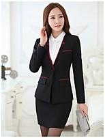 Women's Solid Red / White / Black / Gray Blazer , Work Deep V Long Sleeve