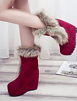 Women's Shoes New High Heels Wedge Heel Round Toe Boots Dress / Casual Black / Red