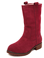 Women's Shoes Suede Low Heel Bootie / Round Toe / Closed Toe Boots Dress / Casual Brown / Green / Red