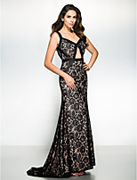 Formal Evening Dress - Black Trumpet/Mermaid Straps Sweep/Brush Train Satin