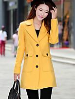 Women's OL Fashion Elegant Lapel Solid Coat , Casual  Long Sleeve