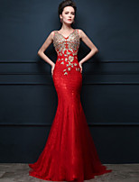 Formal Evening Dress - Ruby Trumpet/Mermaid V-neck Sweep/Brush Train Tulle