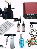 Tattoo Machine Gun Kit Mini Power Supply 10 Needles 2 Color Inks Set For Beginner