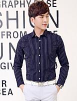 Men's Long Sleeve Slim Lapel Shirt , Pure Cotton Casual / Work / Formal Striped