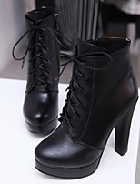 Women's Shoes Leatherette Chunky Heel Bootie Boots Outdoor / Office & Career / Casual Black / Gray