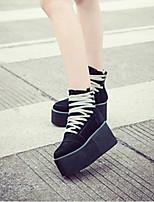 Chaussures Femme - Décontracté - Noir - Talon Plat - Bout Arrondi - Bottes - Similicuir