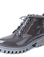 Women's Shoes Patent Leather Chunky Heel Combat Boots / Round Toe Boots Casual Black / Gray