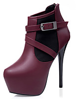 Women's Shoes Leatherette Stiletto Heel Fashion Boots Boots Outdoor / Casual Black / Gray / Burgundy