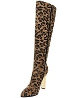 Women's Shoes Fleece Chunky Heel Fashion Boots Boots Office & Career / Party & Evening / Dress Animal Print