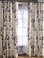 Linen Leaf Printing Curtain (Two Panel)
