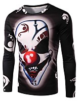 Men's Fashion Personality Clown 3D Printed Long-Sleeve T-Shirt