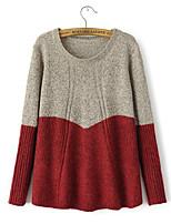 Damen Pullover  -  Leger / Party / Arbeit Strickware / Woll-Mischung Undurchsichtig ¾-Arm