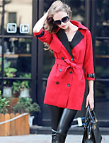 Women's Solid Red Trench Coat , Casual Long Sleeve Cotton / Suede