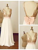 Formal Evening Dress - A-line V-neck Floor-length Chiffon / Sequined