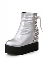 Women's Shoes  Platform Round Toe / Closed Toe Boots Office & Career / Dress / Casual Black / Silver