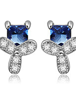 925 Sterling Silver CZ Stone Earring Studs Women Fashion Jewelry
