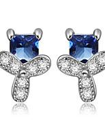 925 Sterling Silver CZ Stone Earring Studs Women Fashion Jewelry