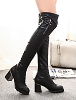 Women's Shoes Chunky Heel Fashion Boots / Comfort / Combat Boots / Round Toe Boots Dress / Casual Black
