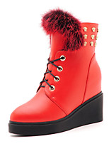 Women's Shoes Leatherette Flat Heel Fashion Boots / Combat Boots Boots Office & Career / Casual Black / Red