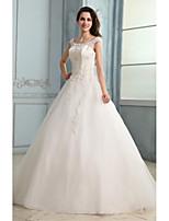 A-line Wedding Dress - White Floor-length Scoop Tulle