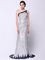Formal Evening Dress - Silver Trumpet/Mermaid One Shoulder Sweep/Brush Train Sequined