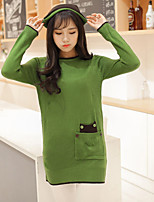 Women's Solid Red / Black / Green / Beige Pullover , Casual Long Sleeve