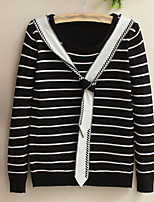 Women's Patchwork Blue / White / Black Pullover , Casual Long Sleeve