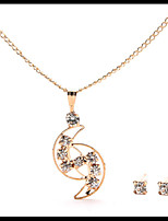 New Delicate Gold Chain Crystal  Necklace Moon Pendant with Stud Earrings Women's Jewelry Set