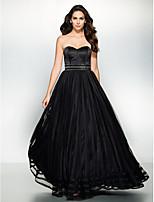 Formal Evening Dress - Black A-line Sweetheart Floor-length Organza / Satin