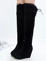 Women's Shoes Wedge Heel Fashion Boots / Round Toe Boots Party & Evening / Dress / Casual Black / Red