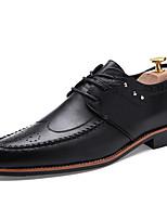 Черный Темно-русый-Для мужчин-Свадьба Повседневный Для вечеринки / ужина-Дерматин-На плоской подошве-Формальная обувь-Туфли на шнуровке